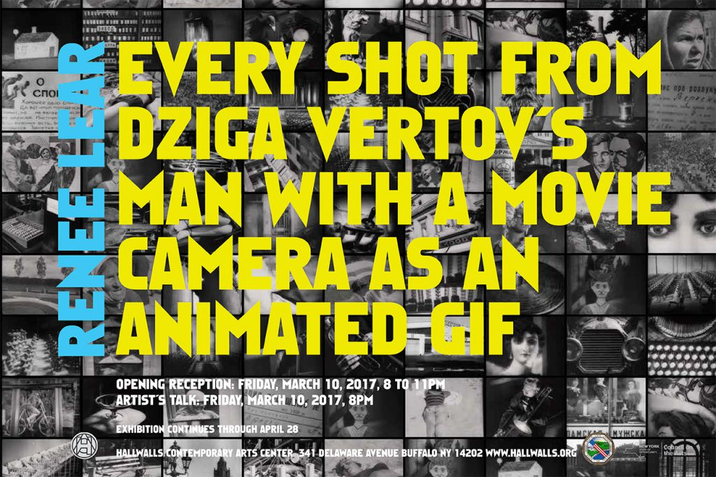 Hallwalls Center for the Arts exhibition invitation for Renée Lear's Every Shot from Dziga Vertov's Man with a Movie Camera as an Animated GIF